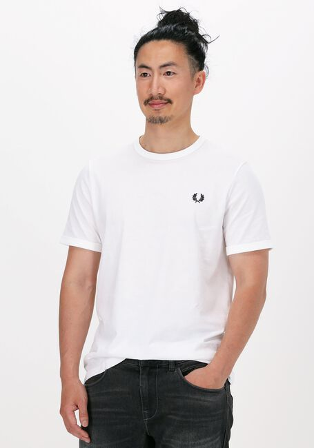 Hvide FRED PERRY T-shirt RINGER T-SHIRT  - large