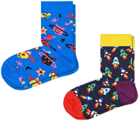 Flerfarvede HAPPY SOCKS Strømper 2-PACK KIDS SPACE CAT  - medium