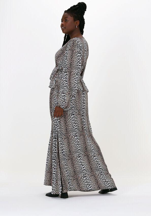 Beige NOTES DU NORD Maxikjole ALICIA LEOPARD DRESS  - larger